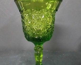Vintage green pedestal lidded candy dish.