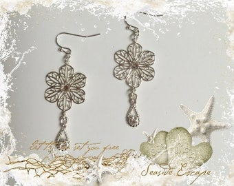 Silver Filigree Flower Earrings