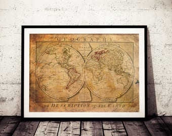 World map print etsy vintage world map 1774 vintage map antique map wanderlust globe tan map gumiabroncs Gallery