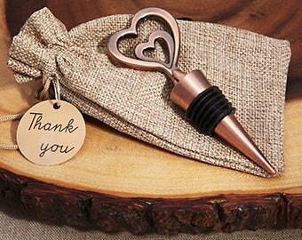 Wine stopper wedding favors - copper double heart stopper - Double heart Vintage copper wine stopper favor-