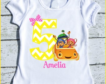 Custom Personalized Girl Millie , Geo and Bot Team Umizoomi Birthday tee shirt with Yellow chevron