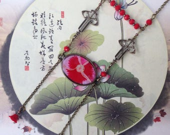 Necklace-long paper Japanese thought red.