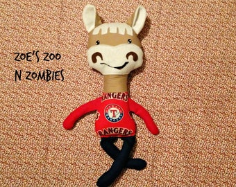 Handmade Horse Stuffie, Captain,  Texas Rangers Baseball,  Mascot Doll Toy