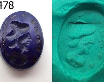 Ancient Rare Lapis Lazuli Roman Face Intaglio For Ring Handmade #6478