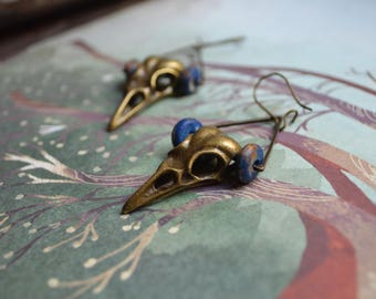 Skull earrings with bird and wooden beads
