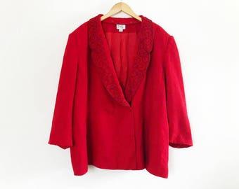 Emily | Red, Beaded, Detachable Collar Vintage 1980's Blazer / Plus Size Blazer / Double Breasted Blazer / Wool Blazer / 2 Button Blazer