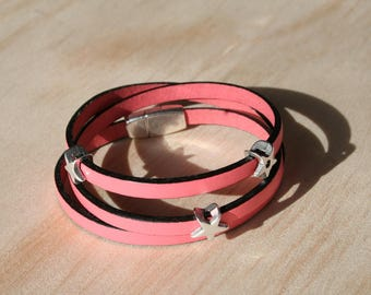 Women's leather bracelet 5 mm - 3 rounds / star - pink - magnetic clasp