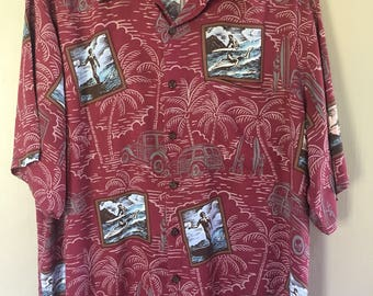 Vintage Art Of Eddy Y by Reyn Spooner Hawaii Aloha Sun Surf Eddy Yamamoto Art Artist Shirt