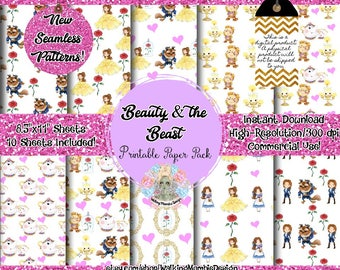 Beauty and the Beast Digital Paper, Beauty and the Beast, Seamless Pattern, Commercial Use, Seamless Paper, Digital Paper Commercial Use