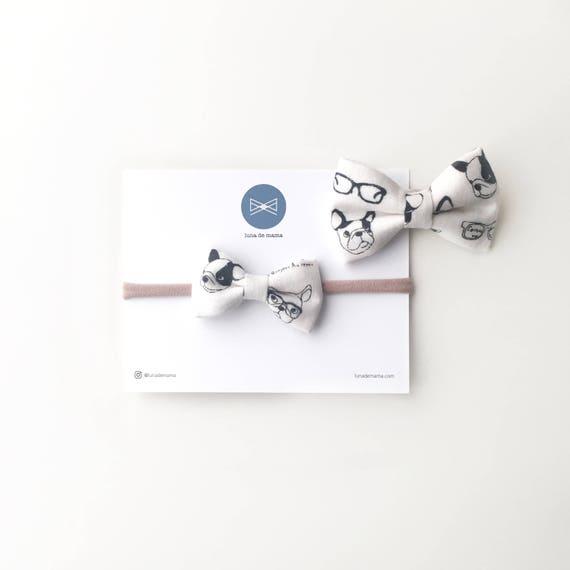 Bow Ties >> French bulldog bow tie | frenh bulldog hair bow | simple and modern | modern bows | sibling sets |