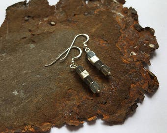 Labradorite cube Earrings with 925 silver elements