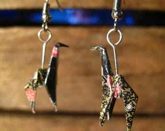 Origami giraffes washi paper earrings
