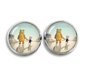 Winnie the Pooh Stud Earrings Winnie and Piglet Earrings Classic Winnie the Pooh Jewelry