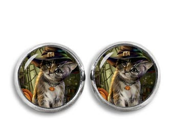Halloween Kitten Stud Earrings 12mm Halloween Cat Earrings Animals Gift for Cat Lovers