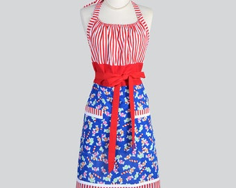 Cute Kitsch Apron Christmas Candy and Red Stripes Holiday Hostess Womans Chef Apron with Lined Pockets (CS)