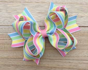 Double stacked hair bows, big hair bows, pink hair bows, easter hair bows, easter bows, double stack bows, spring bows, spring hair bows