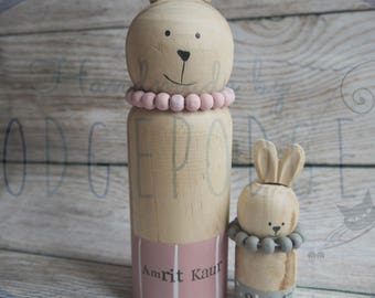 Personalised mummy and baby rabbits, Nursery decoration, new baby gift, Easter gift