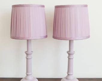 Pair Of Hand Painted Purple Lilac Wine Table Lamp Bedside Lights With Brand New Pleated Lamp Shades Shabby Chic
