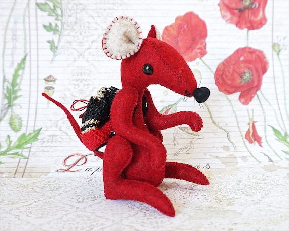 Red Mouse, Mouse Toy, Cute Mouse,  Plush Mouse, Soft Toy, Handmade, Woolf Mouse, Mouse Doll, Stuffed Mouse, Unique Gift, Soft Sculpture