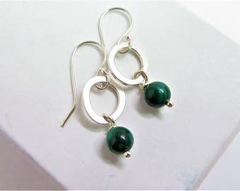 Malachite earrings, silver and malachite earrings, dangle earrings, silver dangle earrings, malachite bead earrings, green drop earrings