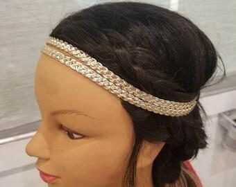 Golden Double Braid Headband