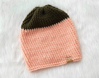 Essential Collection // Slouchy Beanie (2-Tone) // Slouchy Hat // Boho Hipster Beanie // Winter Beanie // Crochet Ribbed Slouchy Beanie