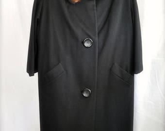 Vintage ILGWU Ladies Wool Coat with Mink Collar