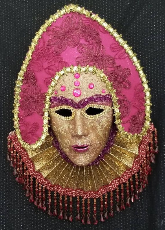 Queen of Scots, Handmade, One of a Kind, Original, Paper Mached, Venetian Style Mask, Made by Maskweaver, Soraya Ahmed, in Naples, Florida
