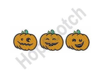 Pumpkins - Machine Embroidery Design, Jack-O-Lanterns, Halloween