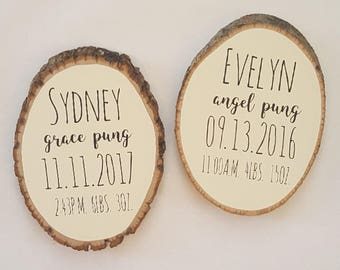 Twin baby name plaque etsy twin nursery decor round wood baby name sign newborn baby birth stats sign negle Image collections