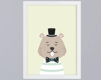 Mr Beaver with cylinder - unframed art print