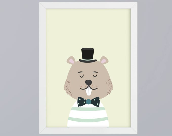 Mr Beaver with cylinder - unframed art print