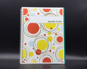 BRIGHT CIRCLES Flex-Hardcover Notebook / Journal 200 pages  Customize-able
