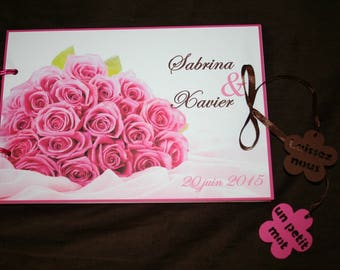 Gold pink white flowers Fuchsia 30 pages book