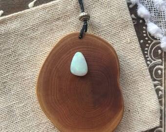 Earthy Wood & Opal necklace