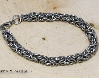 Stainless Steel Byzantine Chainmail Bracelet, Chainmaille Bracelet, Renaissance Medieval Bracelet, Maille Stainless Steel