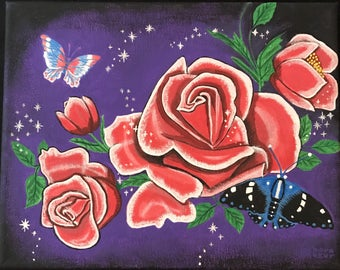 Fantasy roses and butterflies