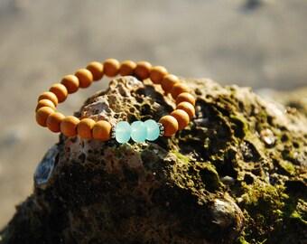 Sandalwood and Blue Chalcedony Bracelet, Stacking Bracelet, Yoga Bracelet