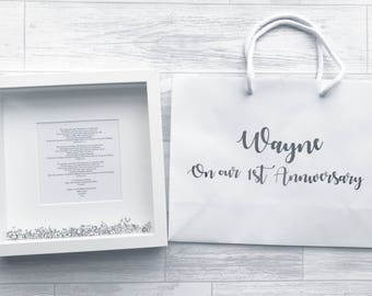 First wedding anniversary Paper anniversary gift wooden anniversary personalised first dance song lyrics frame personalised gift bag