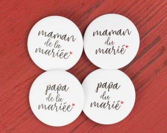 4 badges wedding Parents of groom