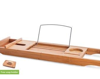 OCENGS Bamboo Bath Caddy Tray Bathtub Caddy Tub with Extendable Sides Free Bonus Soap Dish, Wood Bath Organizer, Tablet, Wine Holder