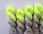 Bad Influence | 75/25 superwash merino nylon sock neon lime green grey taupe neutral variegated sock