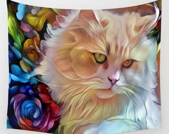 Pretty Kitty, Cat Tapestry, Cat Wall Hanging, Cat Wall Decor, Kitten Tapestry, Kitten Wall Hanging, Kitten Wall Decor, Adorable Cat, Pretty