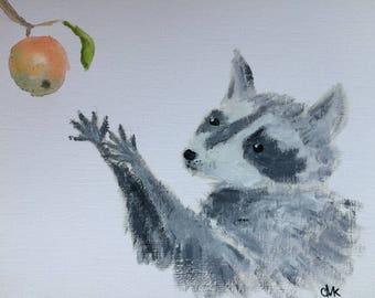 RACCOON handmade original oil&watercolour painting