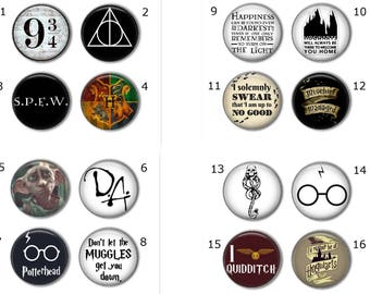Harry Potter pins, Create your own set of 4, Harry Potter buttons