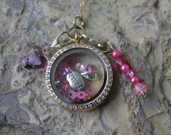 Breast cacner awarness, cancer awaness, breast cancer, floating locket, living locket, memory locket, cacner awanress jewelry,