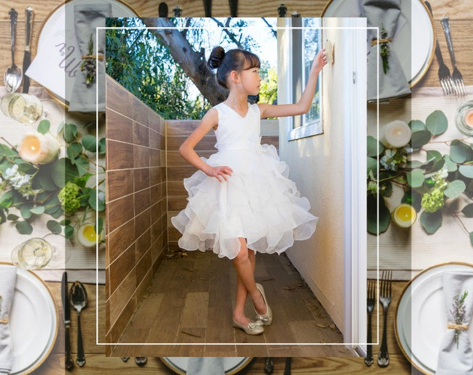 Featured listing image: Girl Premium White Ivory Satin Organza Ruffles Dress Gown, Wedding Flower Girl, Special Occasion, Christening, Communion