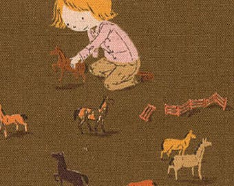FQ, Far Far Away III, Pony Play, Brown, by Heather Ross, for, Kokka, Fat Quarter, OOP, htf, children fabric, canvas