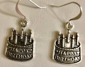 Silver Filled Happy Birthday Earrings
