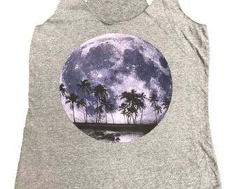 Moon With Palms Design Womens Tank Top